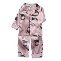 Toddler Kids Girl Prints Rabbits Long Sleeves Pajamas Rayon Silk Sleepwear Sets