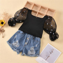 Toddler Girl Polka Dot Mesh Sleeve Top Blue Denim Shorts Two Pieces Sets