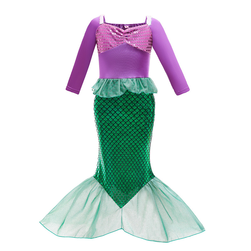 Halloween Kid Girl Sequins Jewelry Mermaid Tail Princess Dress Skirt