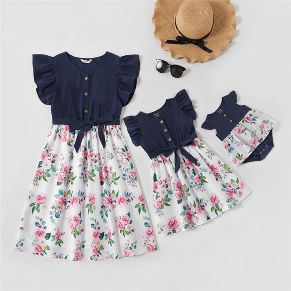 Mommy and Me Ruffles Short Sleeve Floral Tie up A-line Dresses