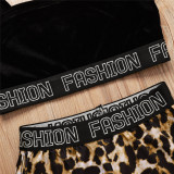 Toddler Girl Condole Belt Black Top Leopard Print Shorts Two Pieces Sets