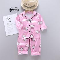 Toddler Kids Girl Hello Kitty Long Sleeves Pajamas Rayon Silk Sleepwear Set