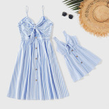 Mommy and Me Ruffle Slip Bowknot A-line Dresses