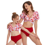 Mommy and Me Matching Swimwear Leopard Print Puff Sleeve Cross Over Two Pieces Swimsuit