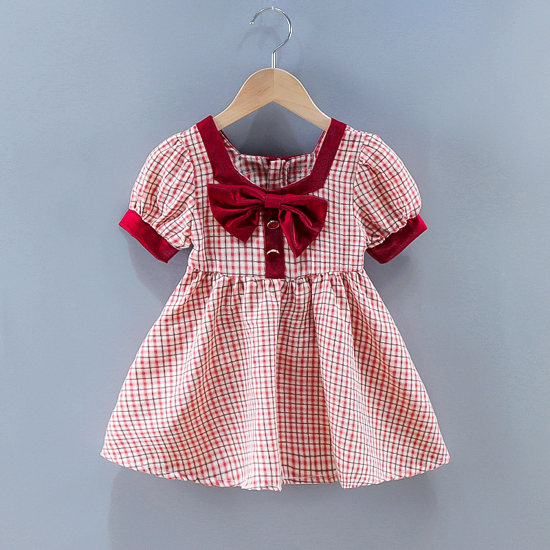 Toddler Girl Red Plaids Bowknot A-line Dresses