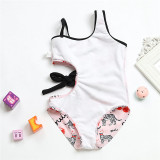 Mommy and Me Matching Swimwear 3 Colors Stripes Bowknot Tie Up Waist Cut Out Swimsuit
