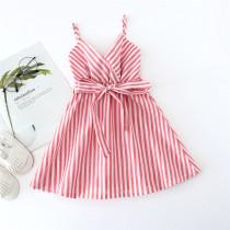 Toddler Girl V-neck Stripes Slip Summer Dresses