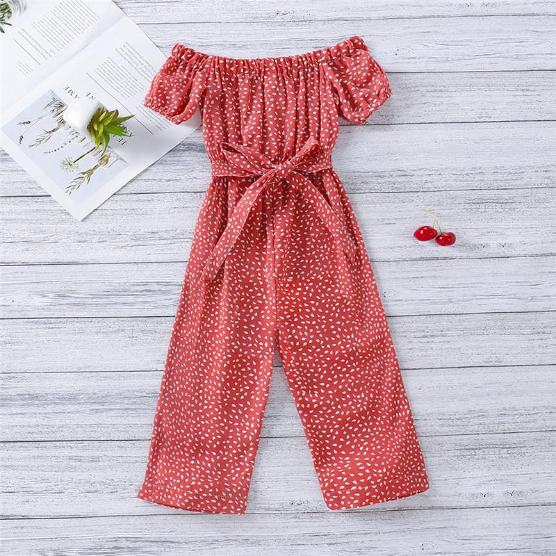 Toddler Girls Dot Printed Falbala One-shoulder Puff Sleeve Jumpsuits