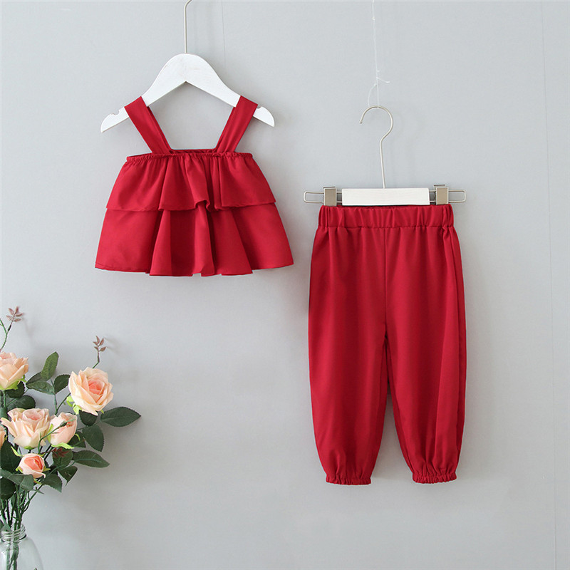 Toddler Girls Multi Layers Ruffles Strap Top and Pant Two Pieces Set