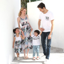 Matching Family Sets Tropical Leaves Dress And T-shirt