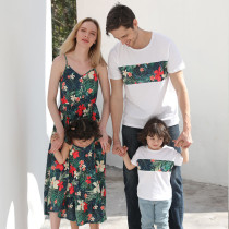 Matching Family Sets Green Tropical Floral Dress And T-shirt