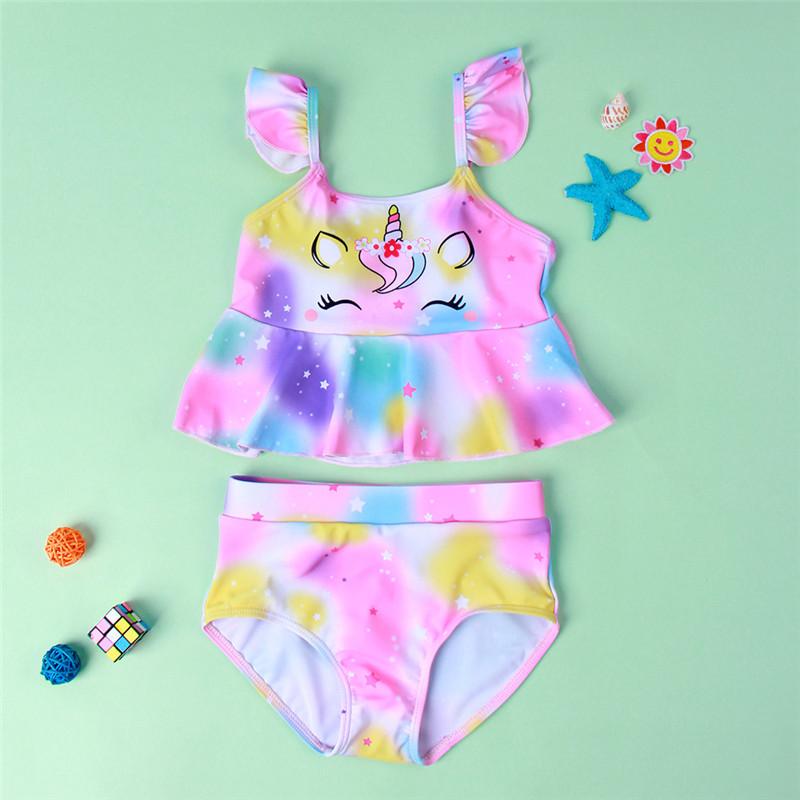 Toddler Kids Girl Ruffles Rainbow Unicorn Bikini Two Pieces Beach Swimsuit