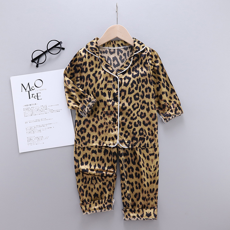 Toddler Kids Girl Brown Leopard Long Sleeves Pajamas Rayon Silk Sleepwear Set