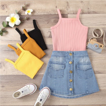 Toddler Girl Knitted Halter Vest Top Button Denim Skirt Two Pieces Sets