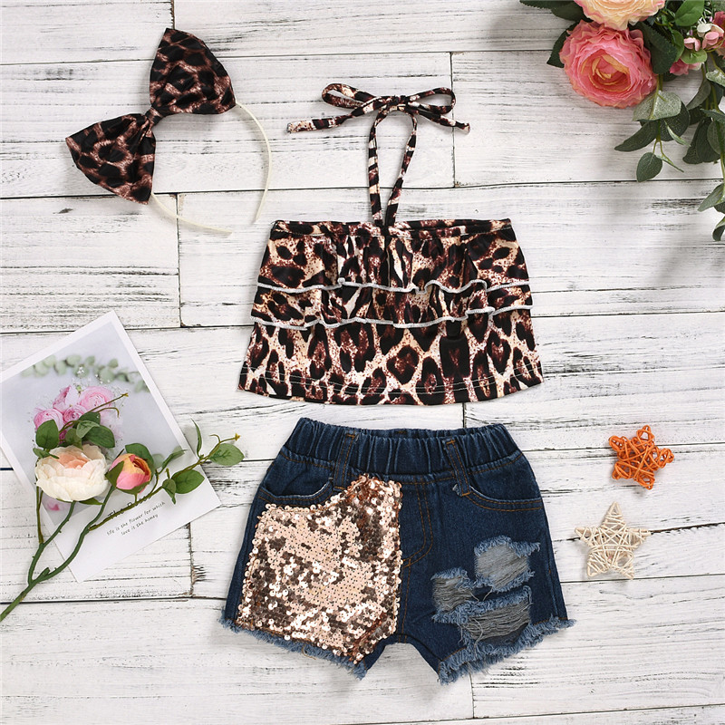 Toddler Girl Leopard Print Stretch Multi-layer Top and Sequined Denim Shorts With Hair Band Set