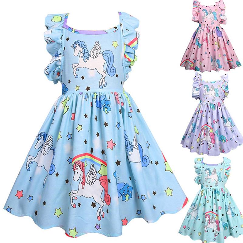 Girl Dresses Ruffles Sleeves Unicorns A-line Dresses