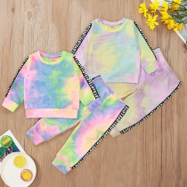 Toddler Girl RainbowTie-dye Long Sleeved Top Slogan Pants Two Pieces Sets
