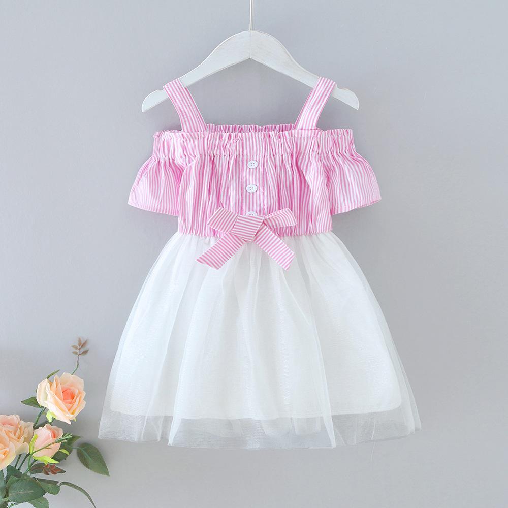 Toddler Girl Stripe Bowkont Matching Tutu Strap Princess Dresses