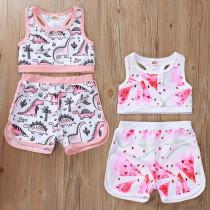 Toddler Girl Prints Dinosaurs Watermelons Sports Bikini Set Beach Swimwear