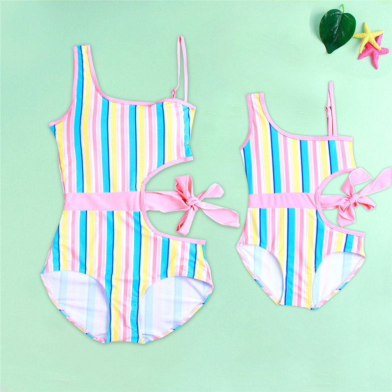 Mommy and Me Matching Swimwear Bow Tie Up One-piece Swimsuit