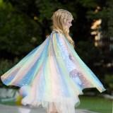 Halloween Kid Girl Rainbow Sequins Princess Cloak