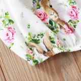 Toddler Girl Rabbit Print Flounce Shoulder Top Shorts Two Pieces Sets