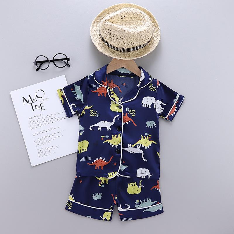 Toddler Kids Boy Prints Dinosaurs Pajamas Rayon Silk Sleepwear Sets