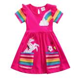 Toddler Girl Rainbow Unicorn Pocketed Dresses Short Sleeve Dresses