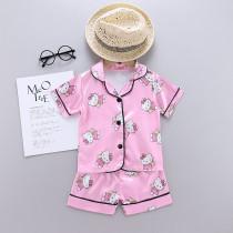 Toddler Kids Girl Hello Kitty Summer Short Pajamas Rayon Silk Sleepwear Set
