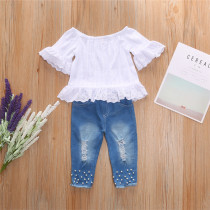 Toddler Girl Off The Shoulder Hollow Up Blouse and Pearl Ripped Jeans Two Pieces Sets