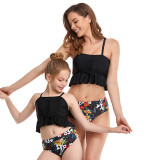 Mommy and Me Matching Swimwear Tank Top Lace Up Flowers Ruffled Bikini Two Pieces Swimsuit