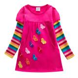 Toddler Girl Rainbow 3D Butterflies Pocketed Dresses Long Sleeve Dresses