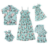 Matching Family Sets Tropical Prints Flowers Dress And T-Shirt