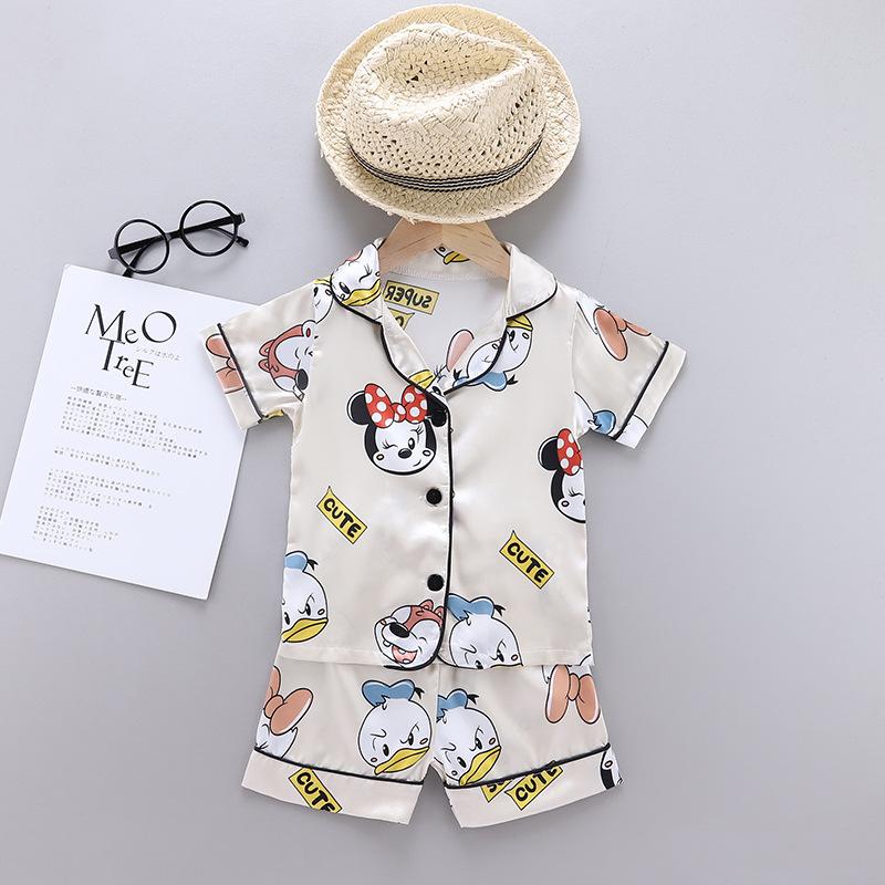 Toddler Kids Girl Prints Cartoon Minnie Summer Short Pajamas Sleepwear Sets