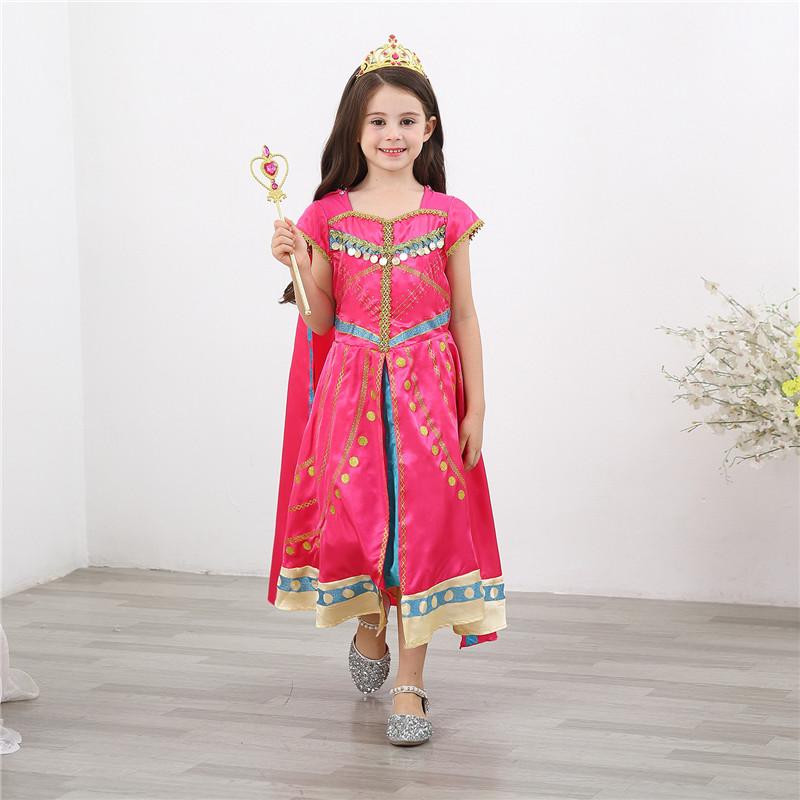 Kid Girl Halloween Aladdin Lamp Jasmine Princess Dress With Long Cape
