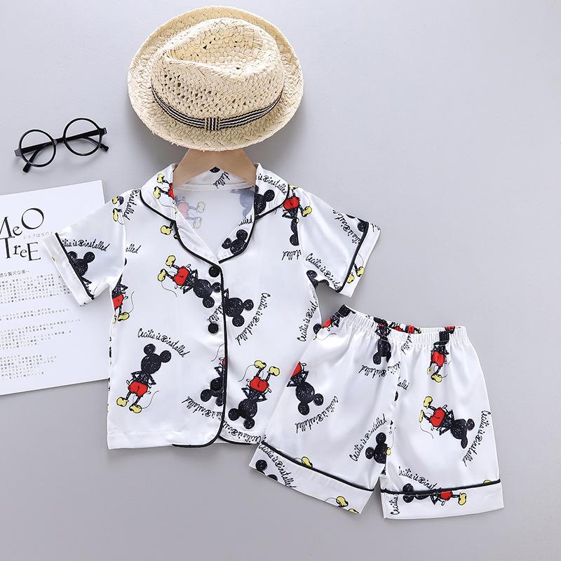 Toddler Kids Boy Prints Mickey Summer Short Pajamas Rayon Silk Sleepwear Sets