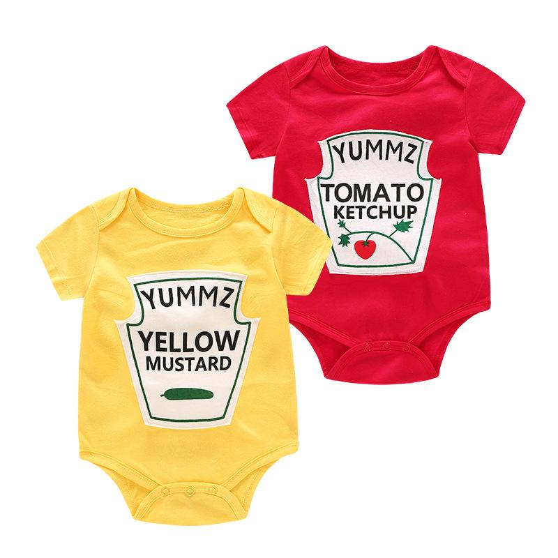 Baby Cartoon Fruit Letters Pattern Short Sleeves Cute Bodysuit