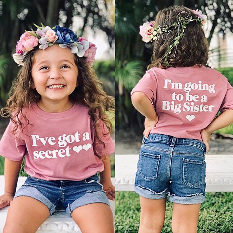 Toddler Girls Letter Pattern Short Sleeve T-shirt