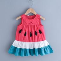 Toddler Girl Watermelon Collar Casual Summer Dresses