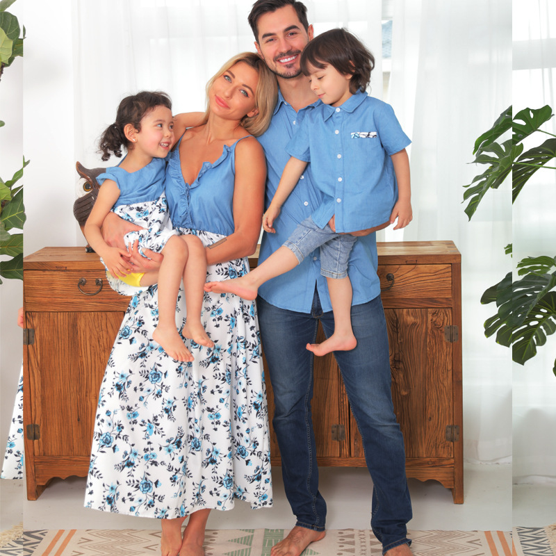 Matching Family Suit Blue Flowers Mom Denim Dress and Dad Denim Shirt