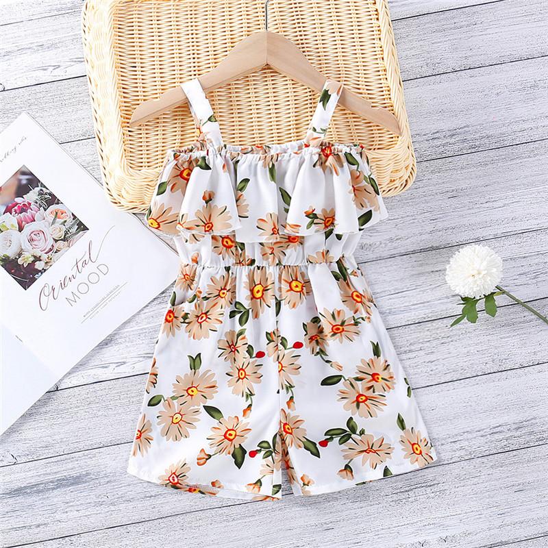 Toddler Girls Slip Floral One Shoulder Jumpsuits