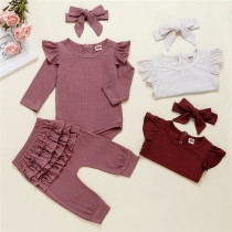 Baby Girl Ruffles Long Sleeves Bodysuit and Pants Two Pieces Outfits with Hairband