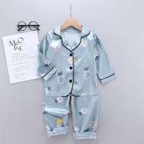 Toddler Kids Girl Prints Pineapples Long Sleeves Pajamas Rayon Silk Sleepwear Sets