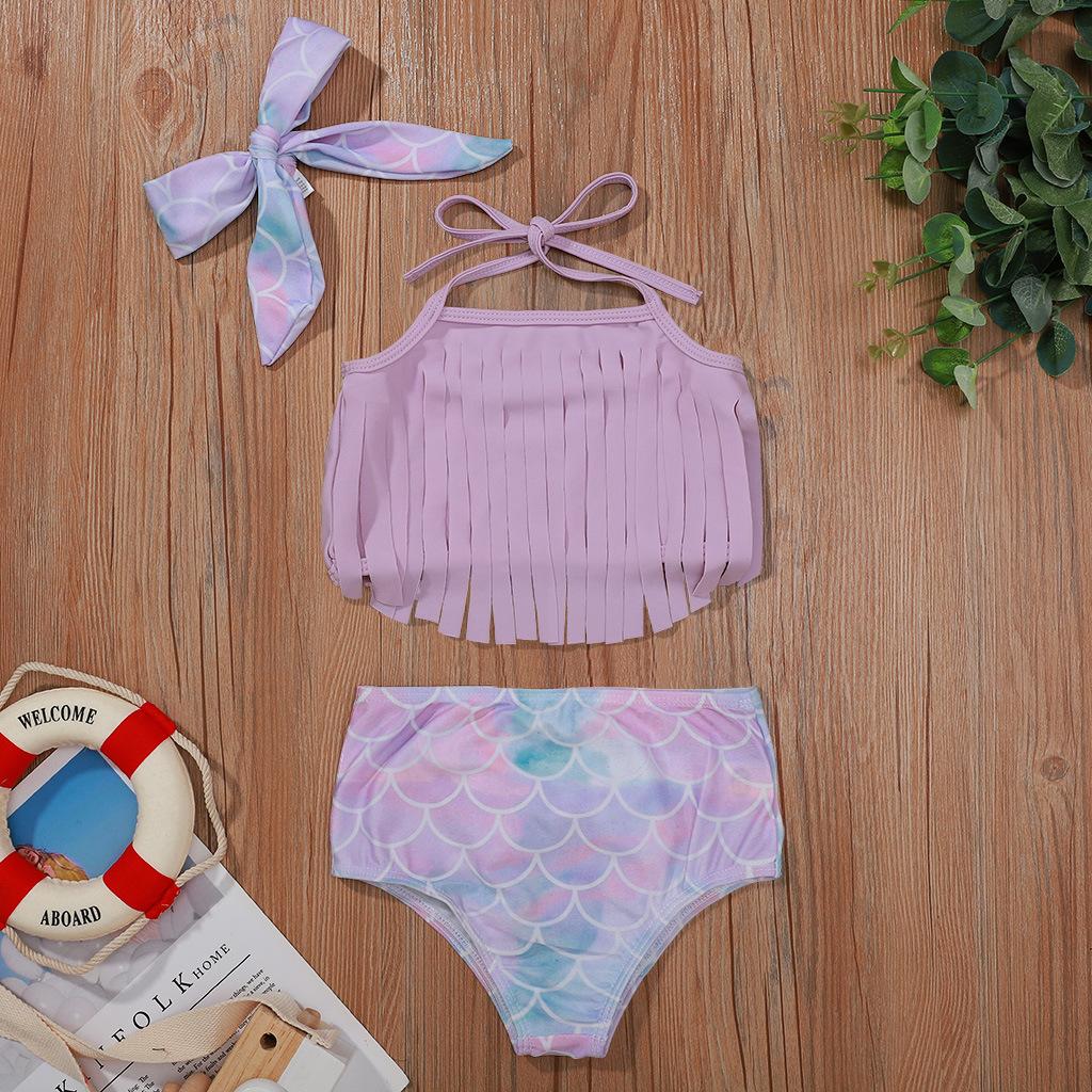 Toddler Girls Prints Fish Scale Bowknot Tassels Bikini Swimsuit