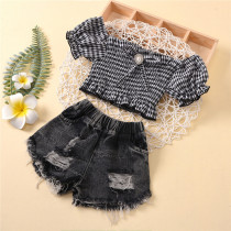 Toddler Girl Puff Sleeve Plaids Top Ripped Denim Shorts Two Pieces Sets