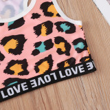 Toddler Girl Leopard Love Vest Top and Short Sport Two Pieces Sets