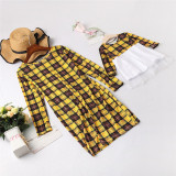 Mommy and Me Long Sleeve Plaid Round Neck Dresses