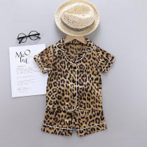 Toddler Kids Girl Brown Leopard Summer Short Pajamas Rayon Silk Sleepwear Set
