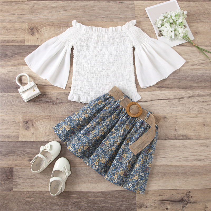 Toddler Girl Bell Flared Pleated Blouse and Flowers Skirt Two Pieces Sets