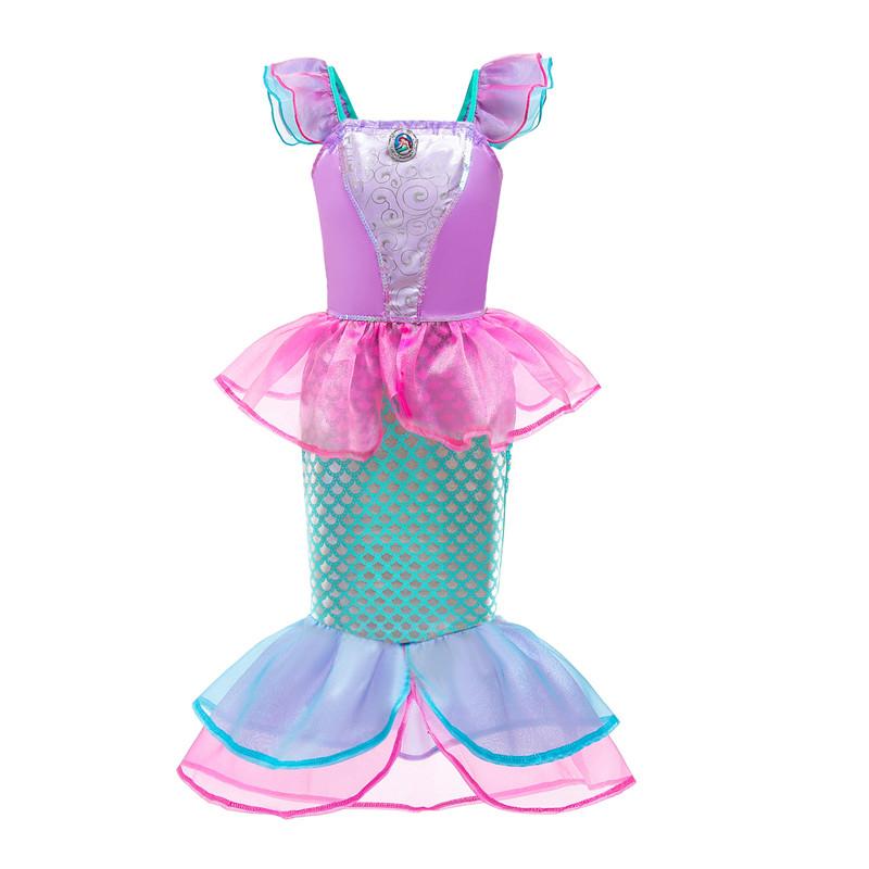 Kid Girl Short Sleeves Mermaid Princess Dress